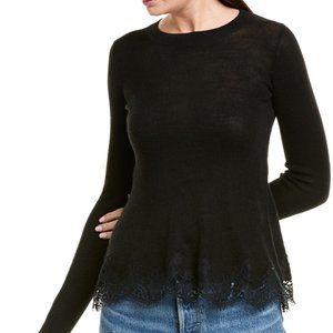 NWOT Rebecca taylor lace trim wool sweater